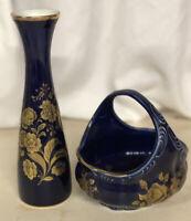 Vintage Royal Porzellan KPM Bavaria Germany Cobalt Blue&Gold Vase & Dish