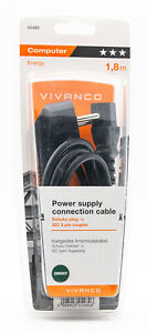 Vivanco PC Kaltgeräte Anschlusskabel 1,8 mm Schuko Stecker auf IEC 3 Polig 325