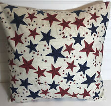 """Red White Blue Stars Flannel Pillow Cover/16"""" x 16"""" or 18""""x18""""/Patriotic"""