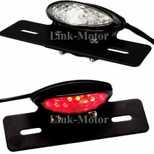 BLACK MOTORCYCLE SMOKE LICENSE PLATE HOLDER MOUNT LED BRAKE TAILLIGHT UNIVERSAL