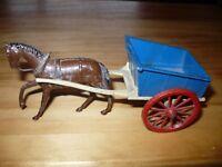 Spielzeug Pferdefuhrwerk Bauernhof Pferd Wagen Diecast Metall 60' Jahre Britains