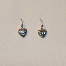 SMALL HEART DROP EARRINGS WITH BLUE GLASS STONE DARK SILVER PLATED