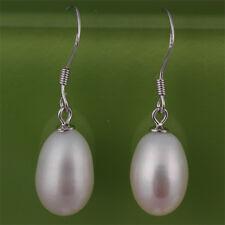 Real Freshwater White Teardrop Pearl Drop Earrings On Silver Crooks  D