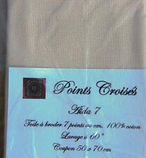 TOILE A BRODER 7 pts au cm BEIGE CLAIR, grand coupon 50 x 70 cm