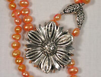 SIlver colored Flower & Apricot Pearl Handmade Necklace 17 inch