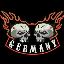 XXL BACK-PATCH Rücken Aufnäher DOUBLE TOTENKOPF FLAMME 2 (made in Germany)