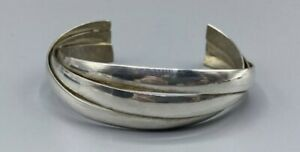 Heavy Vintage Hallmarked Sterling Silver Entwined Cuff Bangle 34g