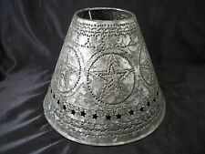 Metal lamp shade stars & hearts punch design hand made colonial design country