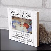 Large Auntie Aunty Aunt Plaque Wooden personalised Photo Block Present Gift