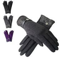 Women's Designer Style Diamante Trim Ladies Winter Gloves
