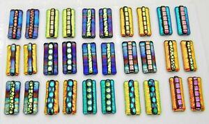 For dangle earrings Lot 30 pcs HANDMADE pendant DICHROIC FUSED GLASS (K8) CABS