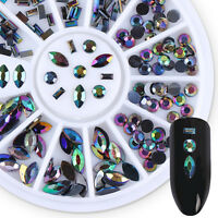 Chameleon Acrylic Rhinestone Round Rectangular Colorful 3D Nail Decoration Tips