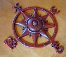 Compass Rose Cast Iron Sign Red Nautical Beach Sailing Coastal Home Boat Decor