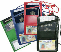 Leather Passport Holder Neck Strap ID Card Wallet Travel Lanyard New Colors