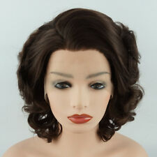 Meiyite Hair Wavy Short 10inch Two Tone Brown Mix Synthetic Lace Front Wig