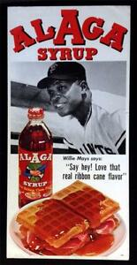1960s Alaga Syrup Willie Mays poster ORIGINAL baseball ad advertising SF Giants