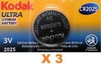 Pila Kodak CR2025 - Ultra Lithium Battery 3V - Caducidad 2025 - Pack De 3 Pilas