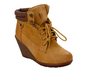 WOMENS TAN LACE UP HIGH WEDGE HEEL CASUAL PADDED ANKLE BOOTS LADIES UK SIZE 3-8