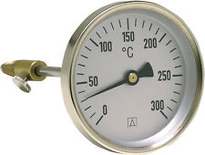 Rauchgas Thermometer Abgas Ofen Heizungsthermometer  0-300°C Fühler 150mm D 80mm