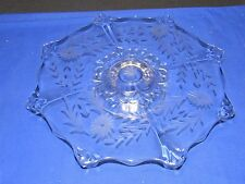 """EAPG Glass Octagon Star-Snowflake Cake Stand,14""""Footed Plate,Cut Etched Flowers"""