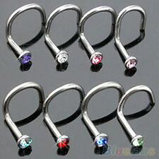 NE _10pcs FANTASTICO COLORATO STRASS GANCIO OSSO Barretta PIN piercing