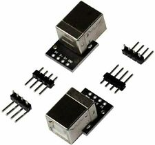 flashtree 2pcs USB 2.0 Type B Female Breakout Board 2.54mm Pin Out 100 mils