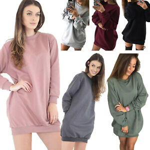 Ladies Womens Crew Neck Long Sleeve Longline Pullover Sweatshirt Warm Jumper Top