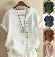 Womens Short Sleeve Cotton Linen T-shirt Lady Loose Buttons Tunic Blouses Tops