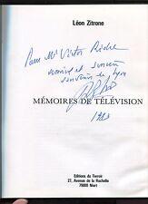 Autographe Dédicace de LEON ZITRONE sur son livre Mémoires de Télévision 1983