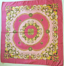"""H&M""  VINTAGE BEAUTIFUL PINK & FUCHSIA & GOLD SCARF OF LOVELY SWIRLS & CHAINS"