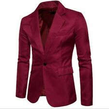 Men Spring Blazer One Button Cutton Blend Slim Fit Solid Casual Jacket US XS-XL