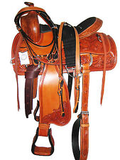 "WESTERN ROPING SADDLE SET HAND CARVED BRIGHT TAN 17"" SUEDE SEAT (1089)"