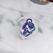 2 Pcs Cute Moon Blue Cat Shape Enamel Brooch Pin Badge Fashion Jewelry Kids Gift