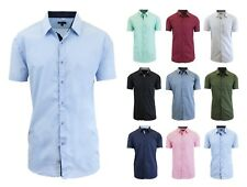 Mens Short Sleeve Dress Button Down Causal Shirt Fancy Solid Slim Fit Contrast