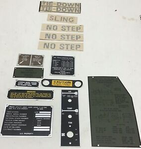 HUMMER M998 8 DATA PLATES/6 DECALS (Assorted)