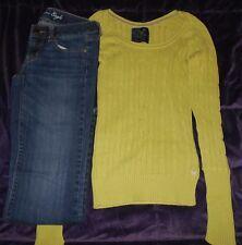 American Eagle Jeans Favorite Boyfriend Size 2 & Long Sleeve Green Sweater XS