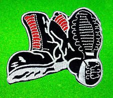 Skinhead Boots OI! Punk Rock Hardcore DIY Ska Black Embroidered Iron On Patch