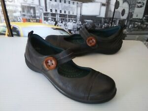 Ecco Mary Jane Clay Black Leather Casual Flat Shoes Comfort Womens 40 US 9 - 9.5