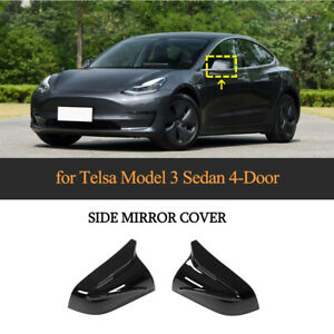 Glanz Schwarz Spiegelkappen Mirror Cover Außenspiegel für Tesla Model 3 2017-20