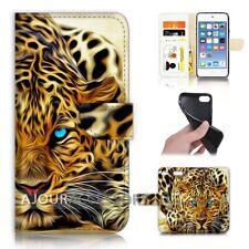 ( For iPod Touch 6 ) Wallet Flip Case Cover AJ40108 Blue Eye Leopard