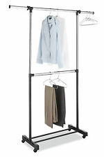 Wheeled Bar Hanger Rod Garment Clothes Rack Organizer Home Commercial Stand NEW