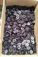 """Emsig Button Dark Purple Black Rimmed 4 hole LOT OF 76 1/2"""" Vintage Size 24"""