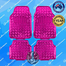 PINK CHECKER PLATE CAR FLOOR MATS, METALLIC SHINY, UNIVERSAL HEAVY-DUTY SET OF 4