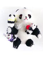 "Vintage Crocheted Stuffed Panda with Cubs Handmade 5 1/2"" Mama Panda"