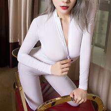Sexy Weiß Hoch Elastisch Bodystocking Overall Body Catsuit Langarm 2-way zipper