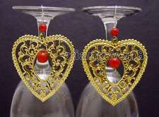 SALE Big Gold 55*60mm Heart Metal and 6-10mm Red Coral dangle Earring-ear453