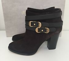 Jimmy Choo Melba Brown Suede Leather Ankle Bootie Logo Heel Shoes 36.5/6.5 NIB