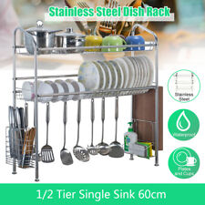Over the Sink Dish Drying Rack Shelf Stainless Steel Kitchen Cutler Holder @/