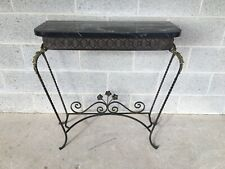 LOUIE XV STYLE FRENCH WROUGHT IRON AND MARBLE TOP CONSOLE TABLE