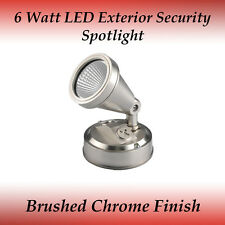 6W LED Exterior Security Spotlight in Brushed Chrome